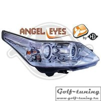 Citroen C4 04-09 Фары с линзами и ангельскими глазками хром