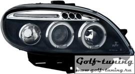 Citroen Saxo 01-03 Фары с линзами и ангельскими глазками черные