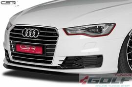 Audi A6 C7 14- Накладка на передний бампер глянцевая