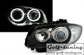BMW E87 04-11 Фары с линзами и ангельскими глазками черные