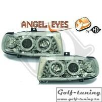 Seat Ibiza 93-00 Фары с линзами и ангельскими глазками хром