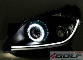 Opel Astra H Фары с ангельскими глазками черные