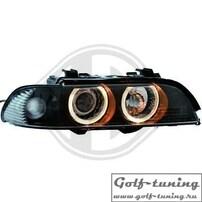 BMW E39 00-03 Фары с ангельскими глазками и линзами черные под ксенон
