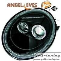 VW New Beetle 98-05 Фары с линзами и ангельскими глазками черные