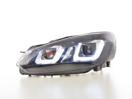 VW Golf 6 08-12 фары с LED глазками черные
