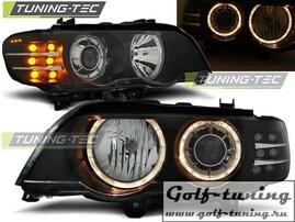 BMW X5 99-03 Фары Angel Eyes с светодиодным поворитником под ксенон черные