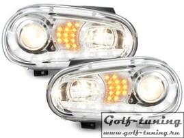 VW Golf 4 Фары Devil eyes, Dayline хром с светодиодным поворотником