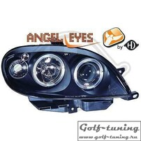 Citroen Saxo 99-03 Фары с линзами и ангельскими глазками черные