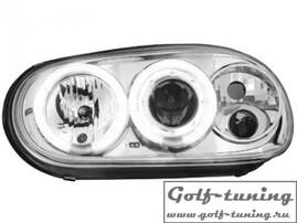 VW Golf 4 Фары с ангельскими глазками и линзами хром, поворотник сбоку