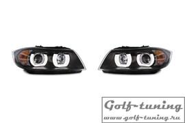 BMW E90/E91 04-08 Фары с LED ангельскими глазками и линзами черные