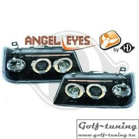 Peugeot 205 Фары с линзами и ангельскими глазками черные
