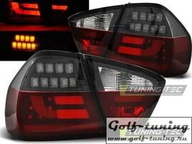 BMW E90 05-08 Фонари светодиодные, красно-тонированные Lightbar с светодиодным поворотником