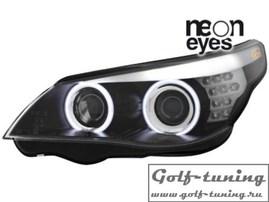 BMW E60 05-07 Фары с линзами и ангельскими глазками черные F10 Look под ксенон