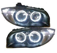 BMW E81/E82/E87/E88 04-11 Фары с линзами и ангельскими глазками черные