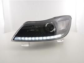 Skoda Octavia 09-12 Фары с LED габаритами черные