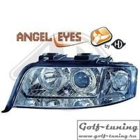 Audi A6 4B 01-04 Фары с ангельскими глазками и линзами хром