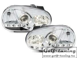VW Golf 4 Фары Devil eyes, Dayline хром