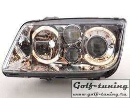 VW Bora Фары с линзами и ангельскими глазками хром
