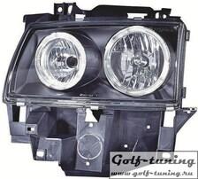 VW T4 96-03 Фары с ангельскими глазками черные