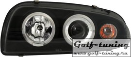 Ford Fiesta 96-00 Фары с линзами и ангельскими глазками черные