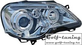VW Polo 9N 05-09 Фары с линзами и ангельскими глазками хром