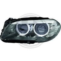 BMW F10 10-17 Фары c led ангельскими глазками черные под ксенон