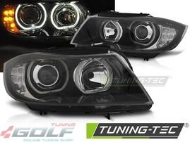 BMW E90/E91 05-11 Фары с светодиодными ангельскими глазками и поворотниками черные