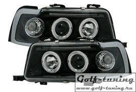 Audi 80 B4 91-94 Фары с линзами и ангельскими глазками черные