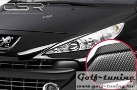 Peugeot 207 06-12 Реснички на фары carbon look