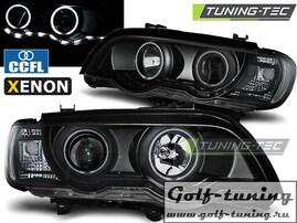 BMW X5 99-03 Фары Angel Eyes под ксенон черные