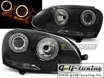 VW Golf 5 Фары Angel eyes черные