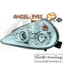 Ford KA 96- Фары с ангельскими глазками и линзами хром