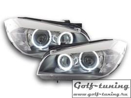 BMW X1 E84 09-12 Фары с ангельскими глазками и линзами черные