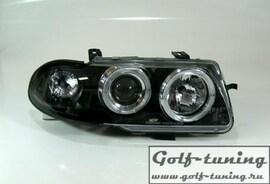 Opel Astra F 94-98 Фары с линзами и ангельскими глазками черные