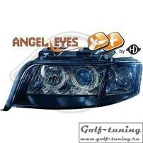 Audi A6 4B 97-01 Фары с ангельскими глазками и линзами черные