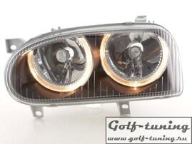 VW Golf 3 Фары с ангельскими глазками черные FK Automotive