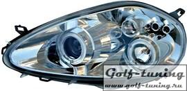 Fiat Grande Punto 199 05- Фары с ангельскими глазками и линзами хром