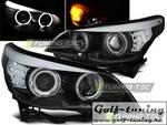 BMW E60/61 03-07 Фары Angel Eyes с светодиодным поворотником черные