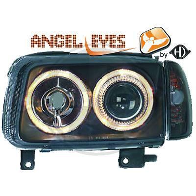 VW Polo 6N2 99-01 Фары с линзами и ангельскими глазками черные