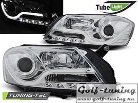 VW Passat B7 Фары Tube lights хром